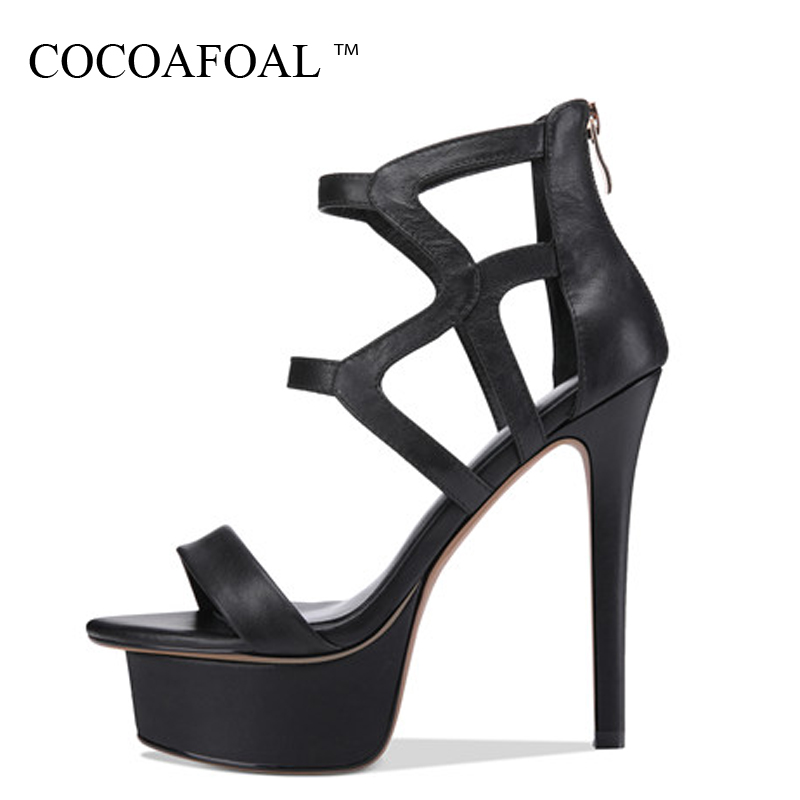 COCOAFOAL Women Fringe High Heels Gladiator Sandals Genuine Leather Sexy Heels Shoes Black Beige Open Toe Platform Sandals 13 CM цена 2017