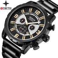 NORTH New Watches Men Brand Quartz Watch Men Full Steel Waterproof Chronograph Casual Sports Military Watches Relogio Masculino