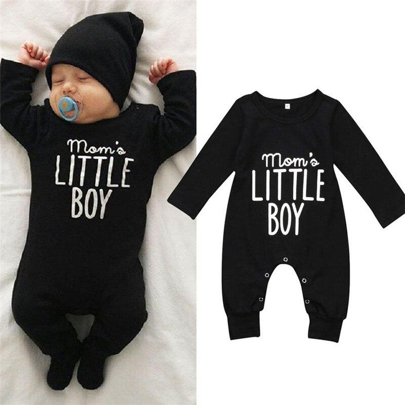 0-24M Toddler Baby Boys   Rompers   Long Sleeve Mom´s Little Boy Letter Print Boys   Romper   Black Boys Clothes Infant Newborn Playsuit