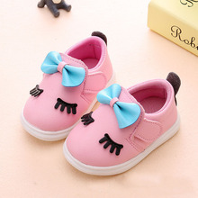 0-2 year old 11--13CM baby shoes Girls toddler Newborn Spring/Autumn fashion Casual PU Soft Sole Butterfly-knot Shoes