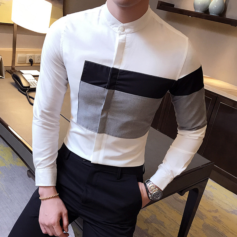 2017 summer fashion classic style patchwork Long Sleeve Shirt dress men's casual slim men camisa masculina party tops