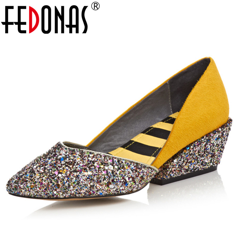 FEDONAS New Autumn Fashion Pointed Toe High Heels Pumps Top Quality Horsehair Ladies Wedding Party Pumps Dress Shoes Woman fedonas top quality women bowtie pumps genuine leather ladies shoes woman sexy high heels party wedding shoes pointed toe pumps