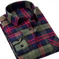 Flannel Plaid Men Shirts Long Sleeve Brushed Cotton Shirt Slim Soft Shirt Leisure Styles Man Clothes Red & Blue & Green
