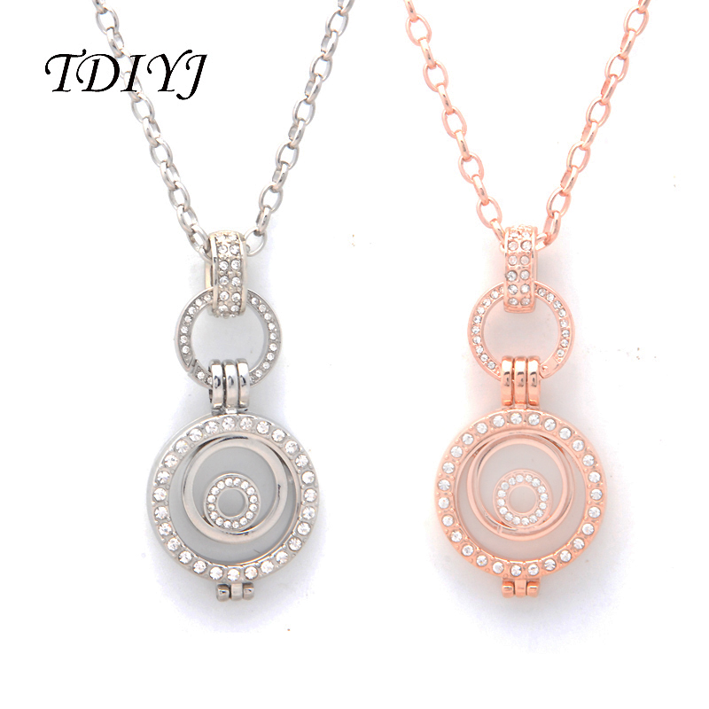TDIYJ Luxury Fashion Jewelry My Coin 25MM Multi Circle Coin Holder Pendant Necklace 80CM Long O Shape Chain Necklace 1Set