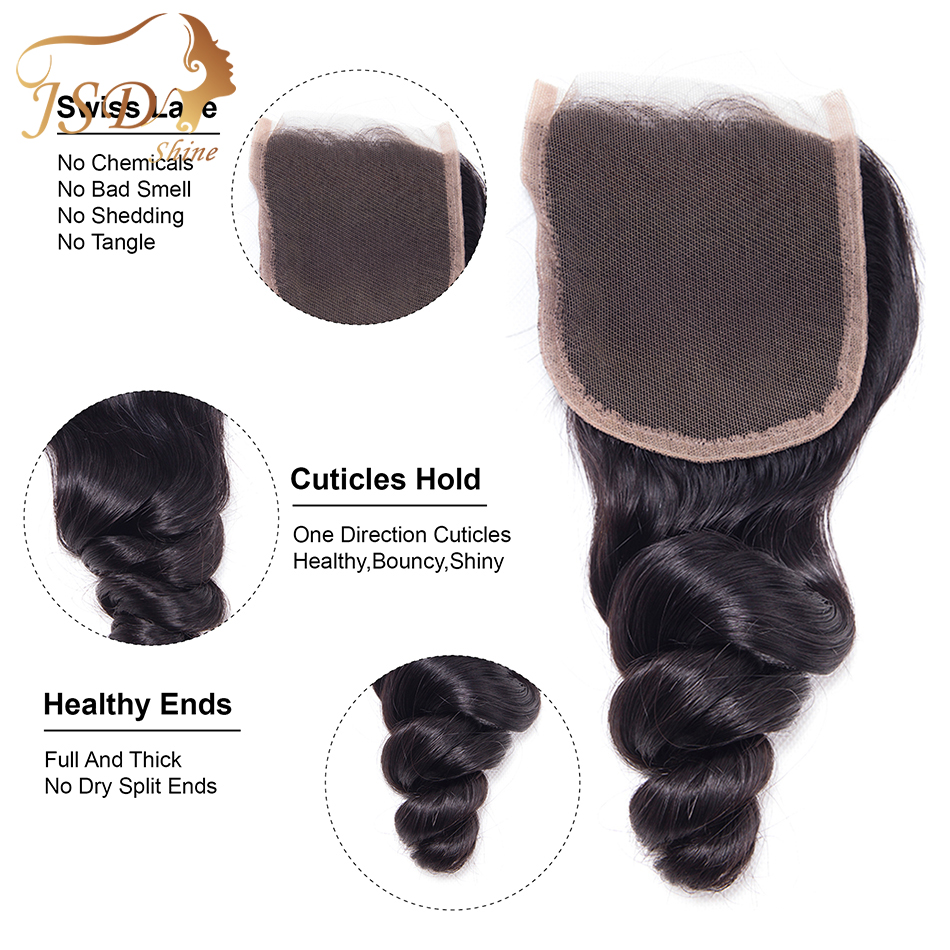 JSDshine Loose Wave 3 Human Hair Bundles With Closure Burmese Hair Bundles With Lace Closure With Bundles Extensions No Tangle