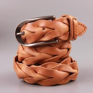 Image 1 - 2019 hakiki deri lüks kayış erkek kemerler erkekler moda klasik Pin toka kadın kemer manuel dokuma erkek Dermis örgülü kemer