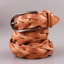 ¡Novedad del 2019! Correa de cuero genuino de lujo para hombre, cinturón de estilo clásico con hebilla, Correa trenzada Manual para mujer, cinturón Dermis para hombre