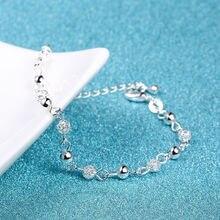 1 шт., Модный женский браслет из цинкового сплава с кристаллами и бусинами, новинка, подарок для любви, винтажный посеребренный браслет, браслеты, хорошее ювелирное изделие