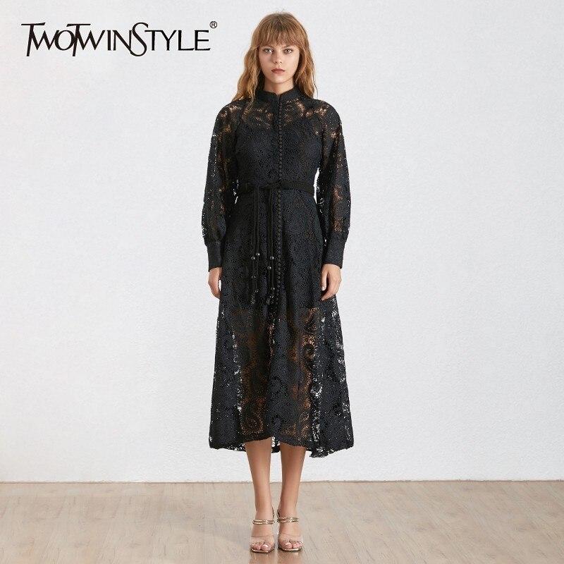 Kadın Giyim'ten Elbiseler'de TWOTWINSTYLE Yaz Kore Kadın Elbise Standı Yaka Fener Kollu Yüksek Bel Ince Bandaj Midi Elbiseler Kadın 2019 Moda Yeni'da  Grup 1