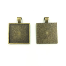 20Pcs Bronze Tone Square Cabochon Settings Charms Pendants 36x28mm Fit Cameo 25x25mm