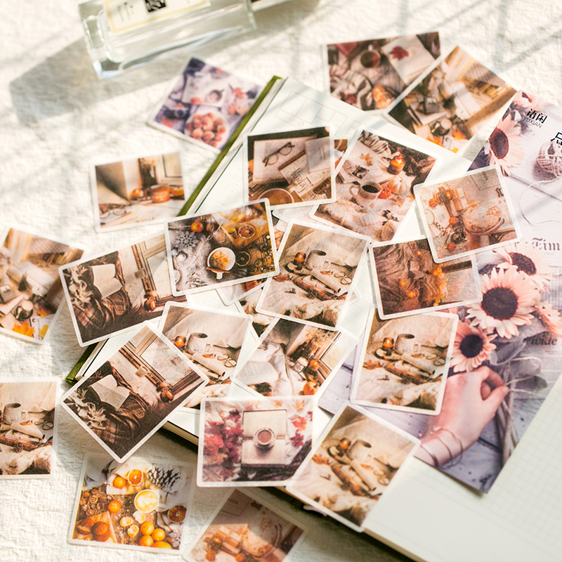 60 Pcs/Bag Vintage Remembrance Time Flower Washi Paper Sticker Decoration Stickers DIY Ablum Diary Scrapbooking Label Sticker
