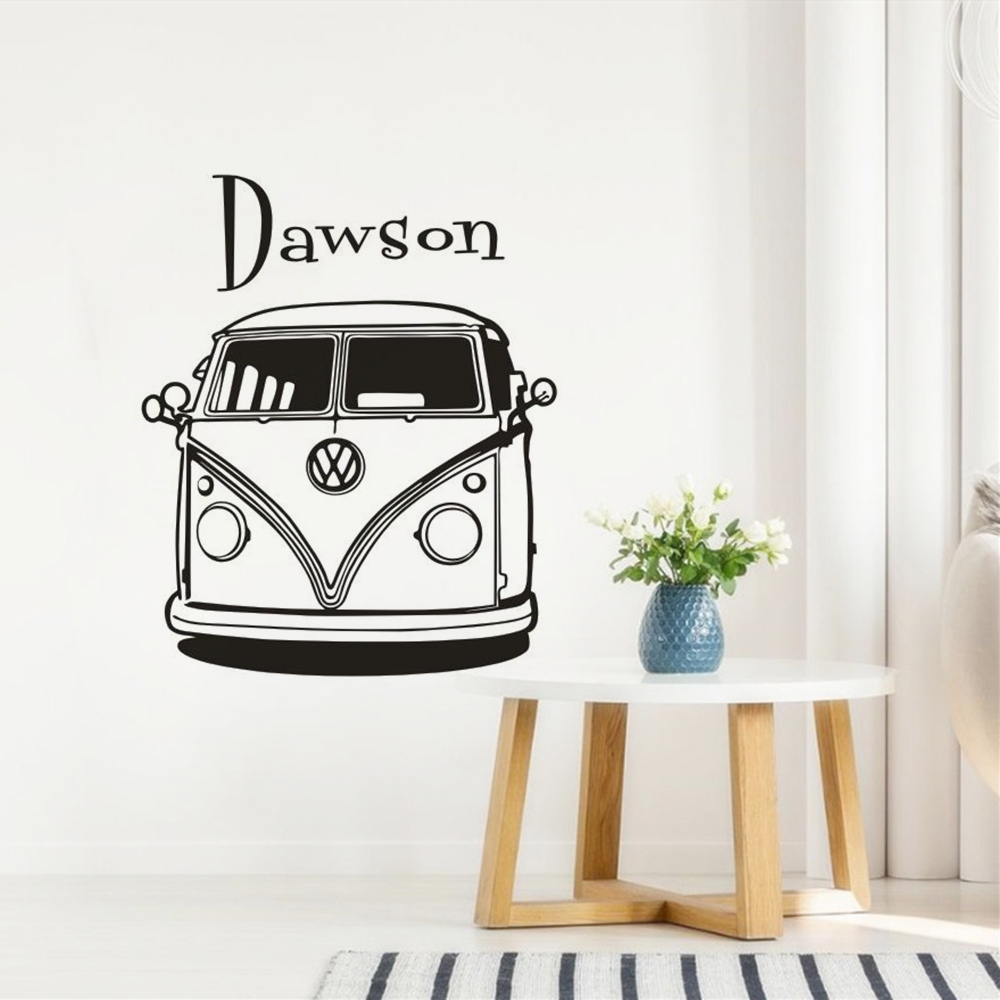 Custom name wall sticker camper van wall decal travel car wallpaper home decor personalized name travel adventure mural ay1723