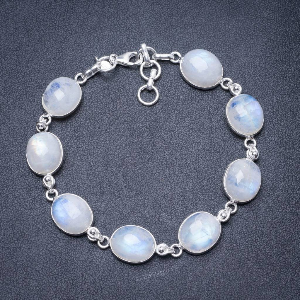 Natural Rainbow Moonstone Handmade Unique 925 Sterling Silver Bracelet 7 1/4-8 1/4