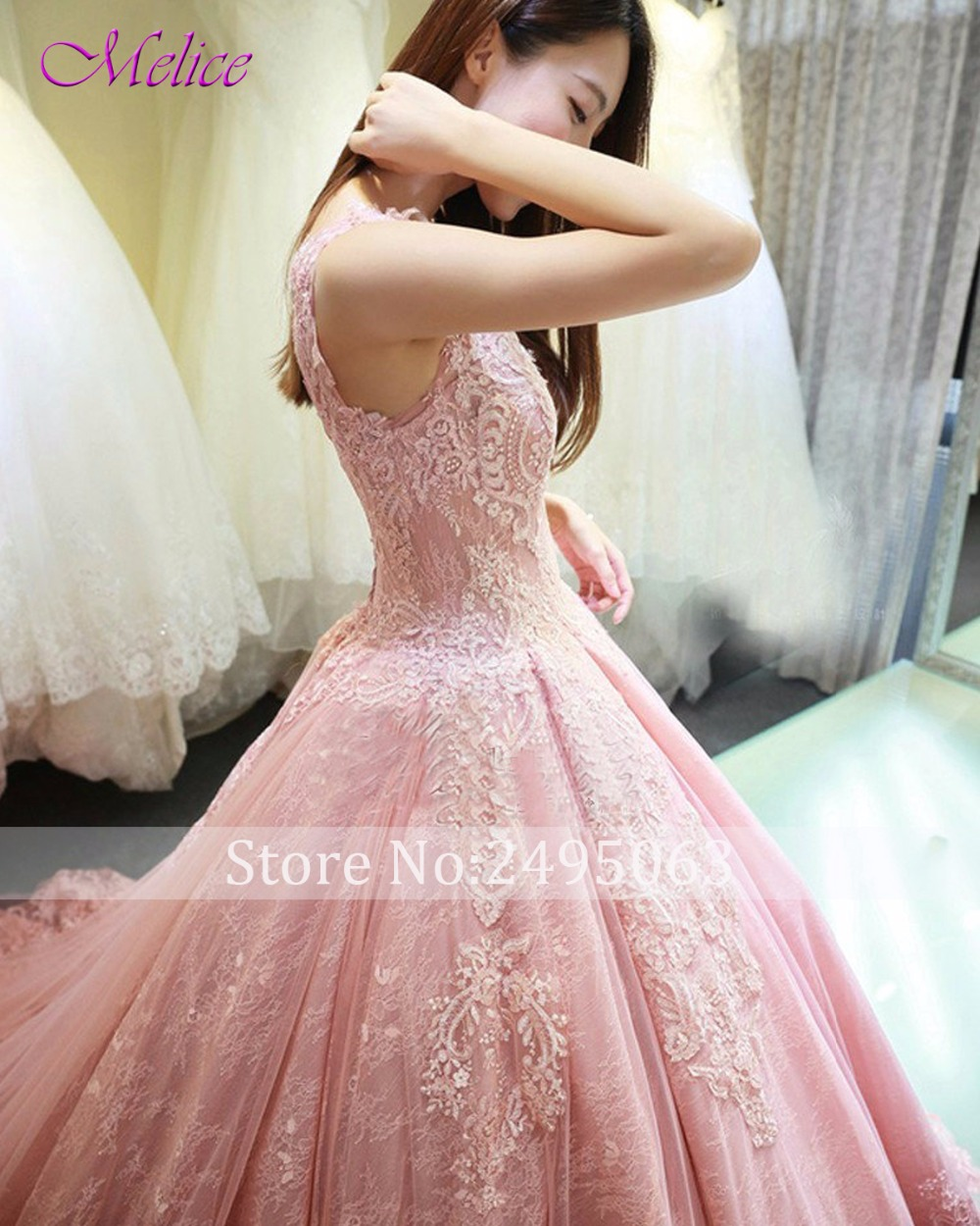 Melice New Arrival Gorgeous Appliques Lace Ball Gown Wedding Dress ...