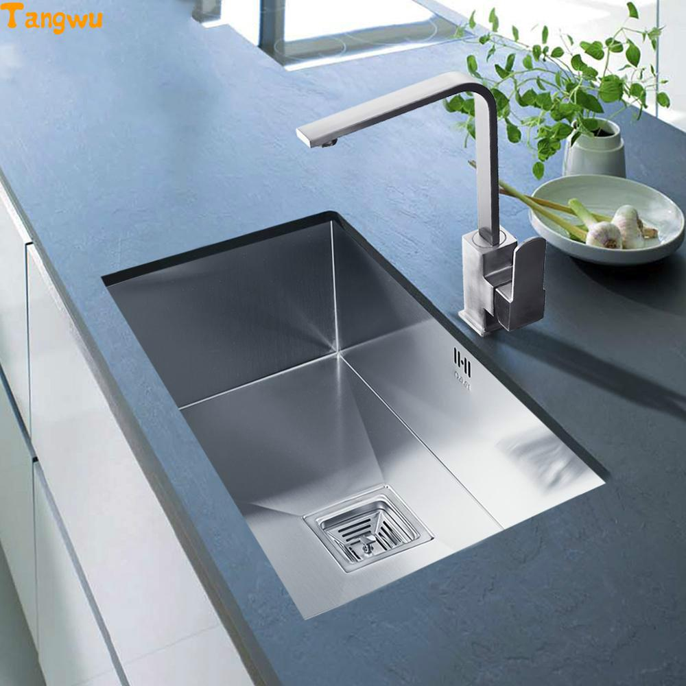 kitchen sinks free shipping vegetable washing basin groove 304 stainless steel undercounter hand slot kitchen sinks
