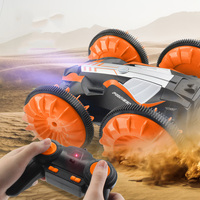 Remote Control Amphibious Stunt Car Tank 2.4G Waterproof Double Sided Driving Tank Boy Boy Toy Remote Control Car Gift