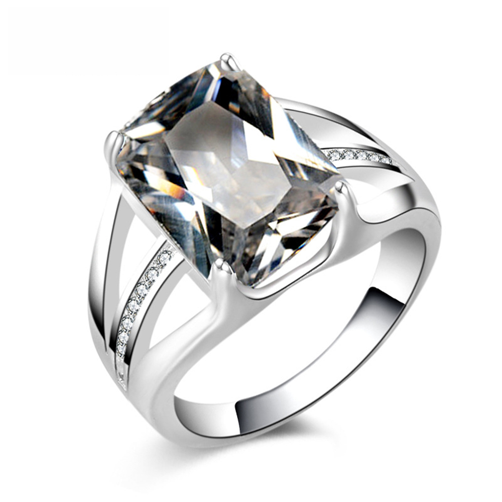 Suti Wholesale Jewelry Blue & White Big Cz Silver Plated Ring Size 8  Fashion Women Gift