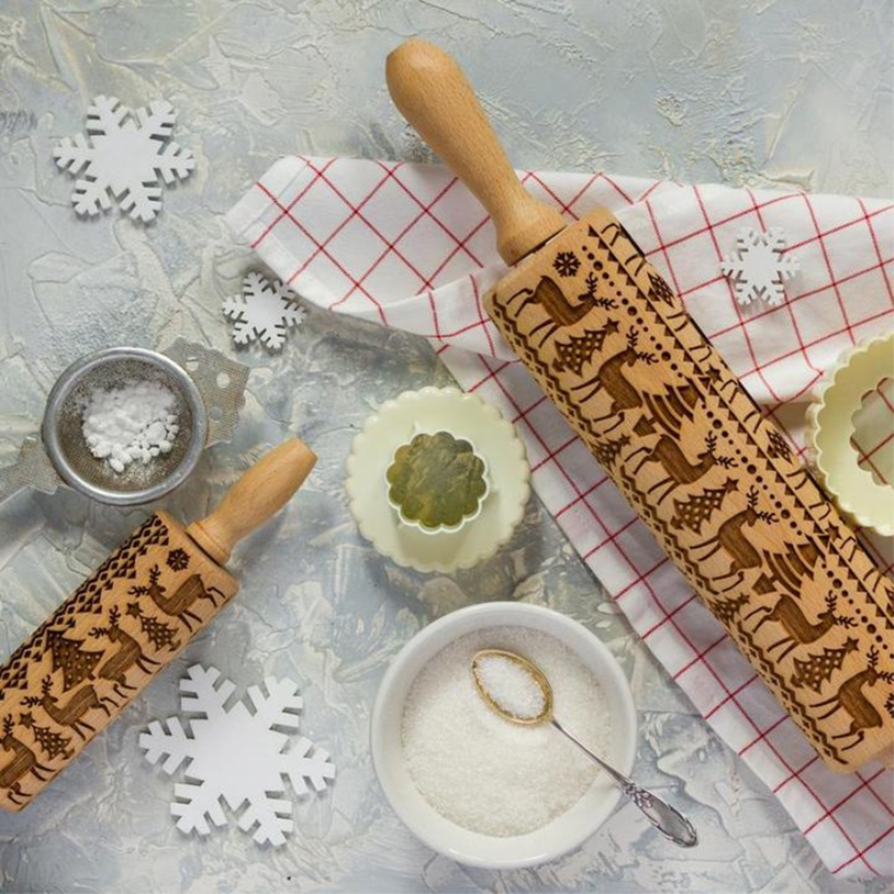 Christmas Embossing Rolling Pin Baking Cookies Biscuit Mold Fondant Cake Dough Engraved Roller Reindeer Snowflake Navidad Decor (5)