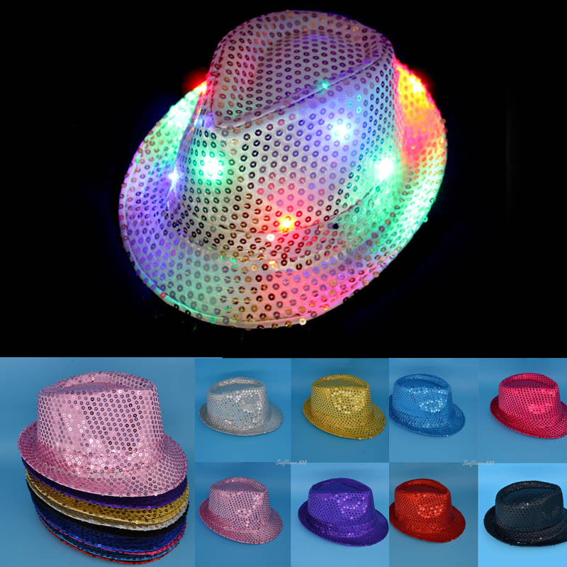 Children LED Light Up Hiphop Hat Blinking Flashing Sequin