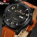 NAVIFORCE men sport watches brand leather quartz watches for men 30M water resistant auto date wristwatches relogio masculino