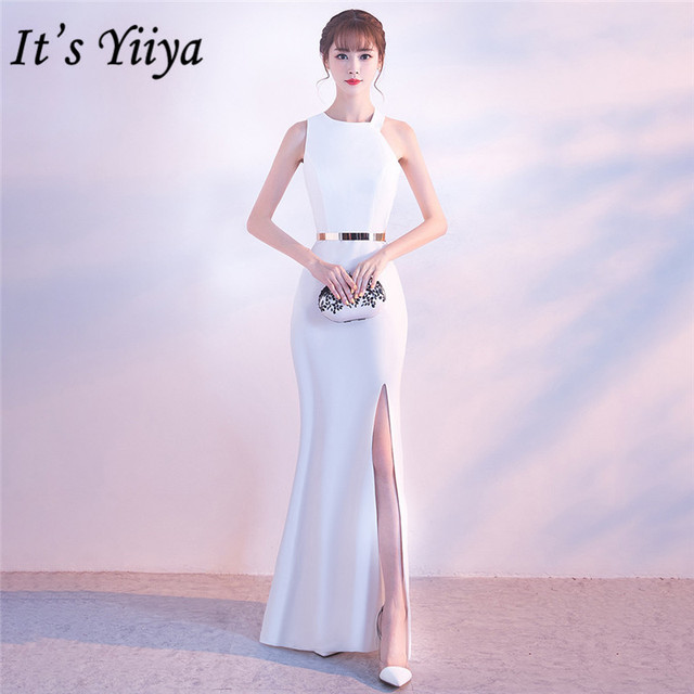Its Yiiya evening dress Sexy Halter zipper back long party Gowns Elegant White sleeveless trumpet formal Prom dresses C148