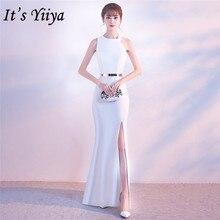 Its Yiiya vestido de noche Halter con cremallera en la espalda, vestidos largos de fiesta elegantes blancos sin mangas, vestidos formales de fiesta de trompeta C148
