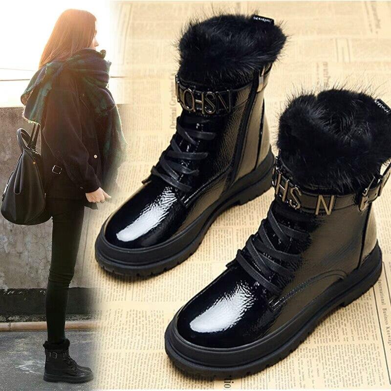 Marca Cuero Martin Genuino Piel De Las Botas 2 Invierno 2018 Mujeres 1 Zapatos Mujer Encaje Señoras nwHB4Fx