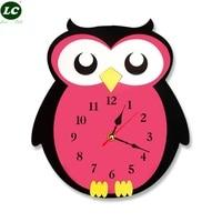 Owl Cartoon Children Acrylic Decorative Watch cartoon wall clock Cartoon Wall Clock for Children Room