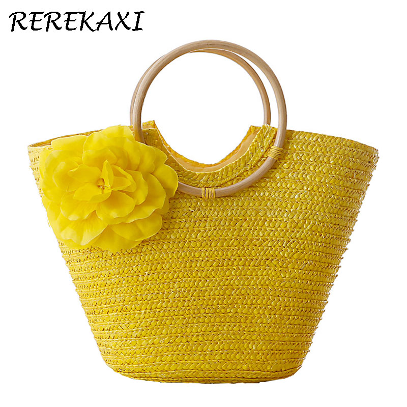 <font><b>REREKAXI</b></font> Flower Summer Beach Bag Wheat Pole Weave Woman's Handbag Bohemian Lady's Straw Bags High Capacity Travel Totes. bolsas image