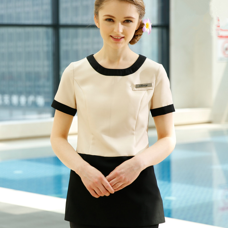slim fit overalls beautician beauty salon work clothing health museum SPA technician suit womens elegant quality tops+pants set