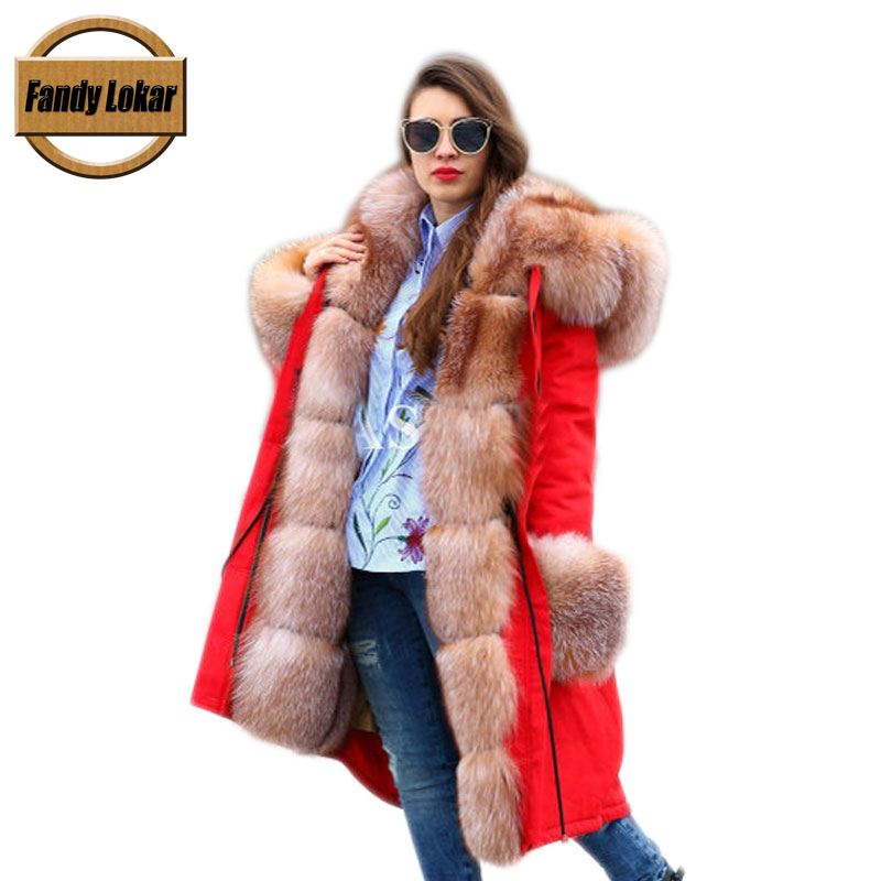 Fandy Lokar FL Winter Women Jacket Fur Parka Fashion Real Fox With Genuine Rabbit Lining Warm Long Coats Female