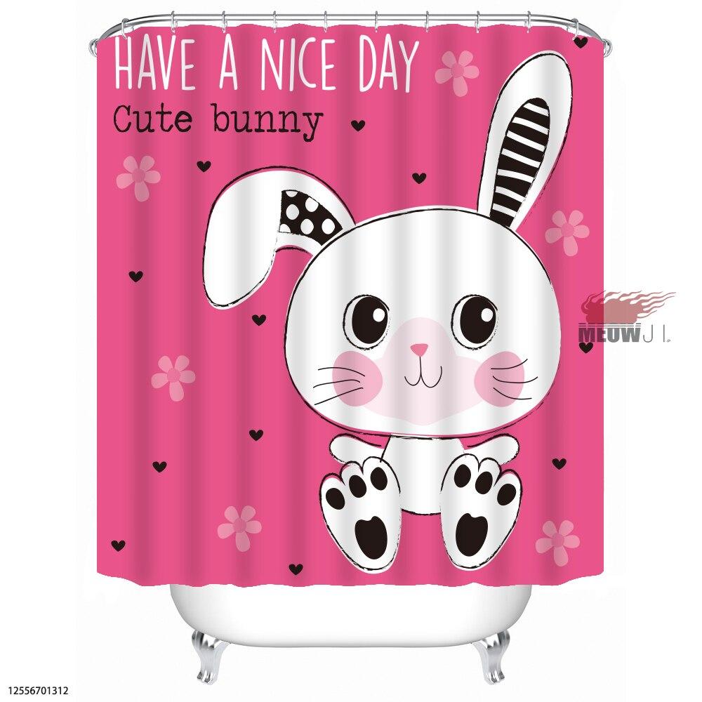 Bunny Rabbit Gorgeous Girl Cute Animal cortina de ducha personalizada - Bienes para el hogar - foto 6