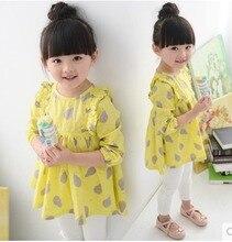 Free Shipping! Girls' Spring Dress Yellow Color Dress for Children Little Girl's Dress