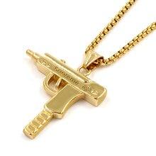 b04aa1fa704b 316L Acero inoxidable lote pistola Uzi estrella collar joyería hombres hip  hop Cadena de Franco del encanto de la danza hiphop
