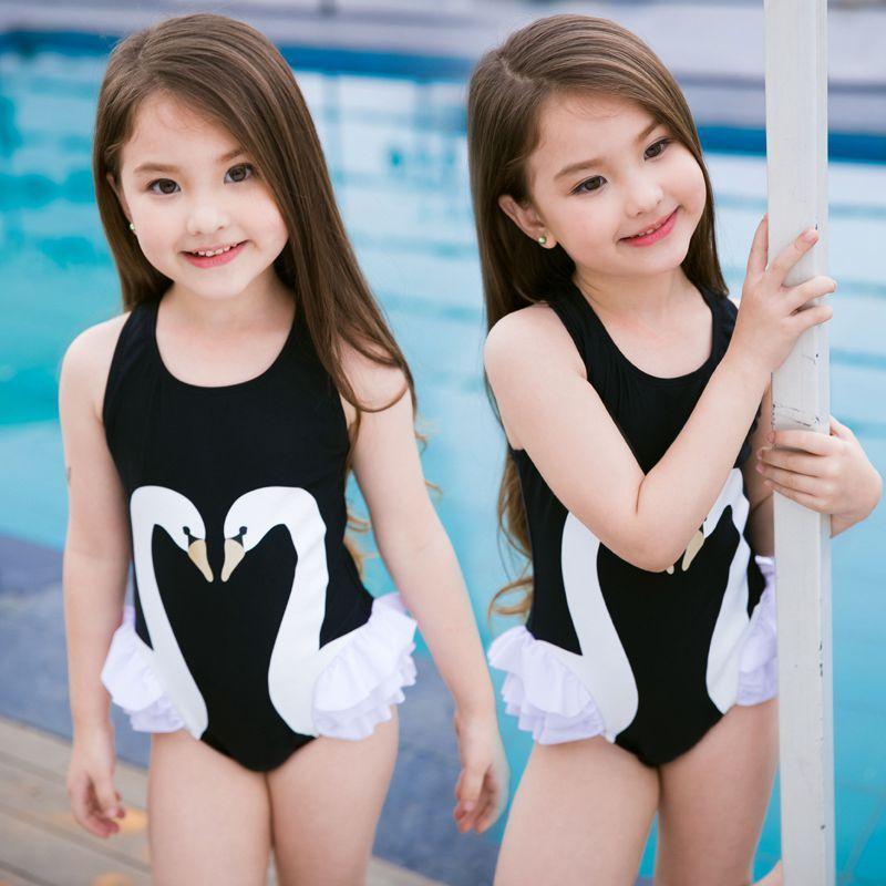 2018 Summer Toddler Kids Baby Girl Swan Bikini Swimwear ...
