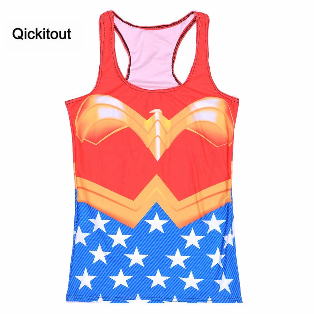 Drop Shipping Women Casual Fashion Summer Womens Sleeveless Digital Printing Tank Wonder Women Camisole