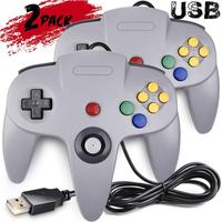 2 Packs Classic N64 Gamepad Controller iNNEXT Wired USB PC Joystick Bit USB Wired Game Stick Controller for Windows PC MAC Linux
