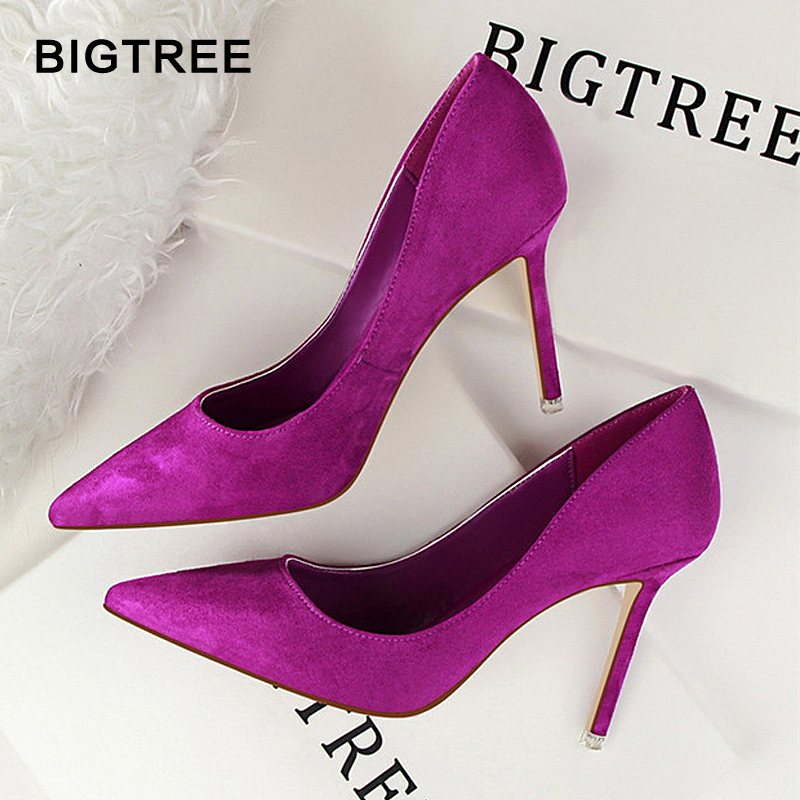 2020 New High Heels Women Fashion Pointed Toe Office Shoes Women's Solid Flock Shallow High Heels Shoes For Women 9 Colors