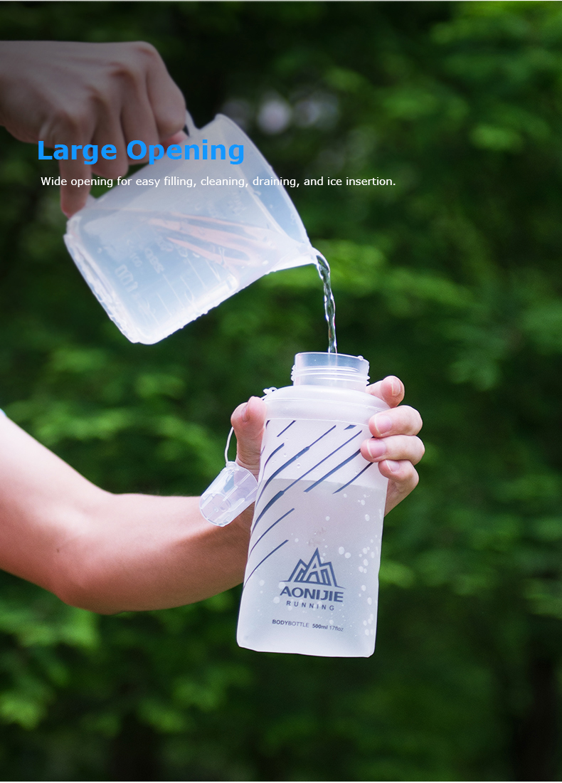 Foto of large opening water's flask folding TPU for sport. Collapsible flask of water 500ml for hiking