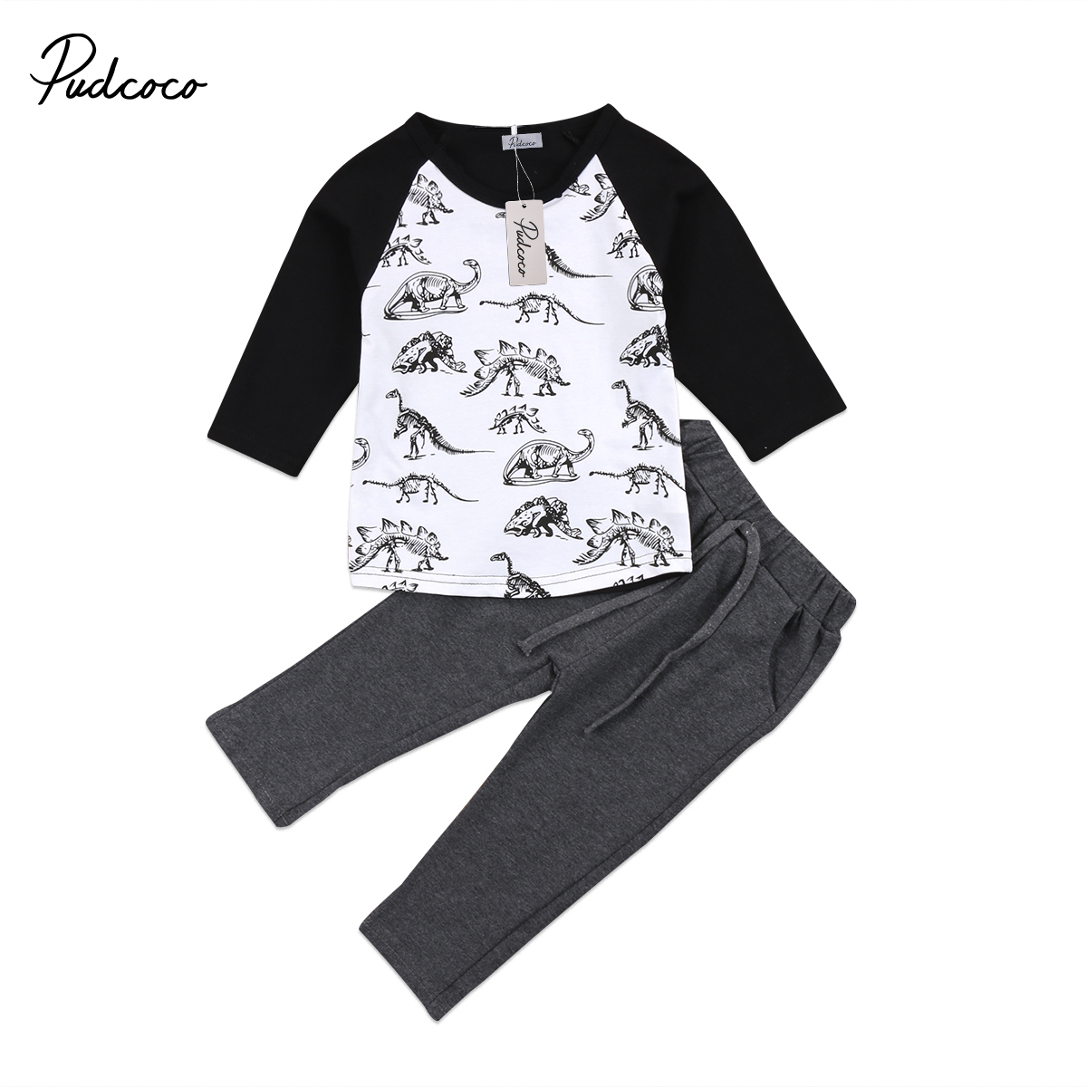 2018 Baby Boy Long Sleeve T-shirt+Pants Outfit Dinosaur Pattern Toddler New Arrival Warm Clothes