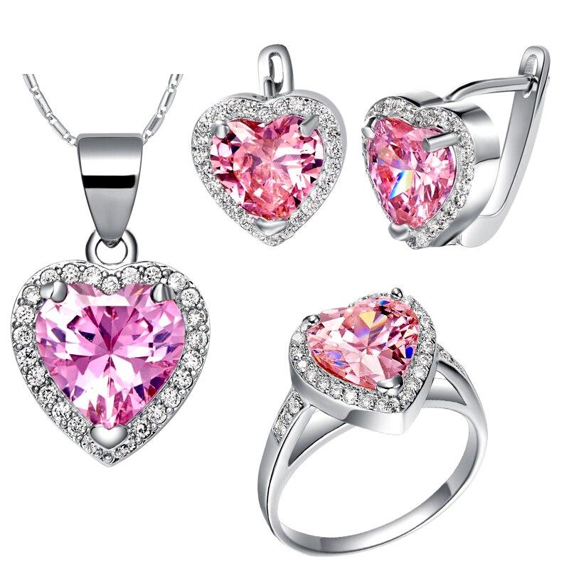 Pink zircon 925 sterling silver wedding jewelry sets for Pink wedding jewelry sets