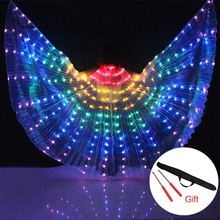 Stage Performance Props Women Dance Accessory DJ LED Wings Light Up Wing Costume Rainbow Colors With Stick