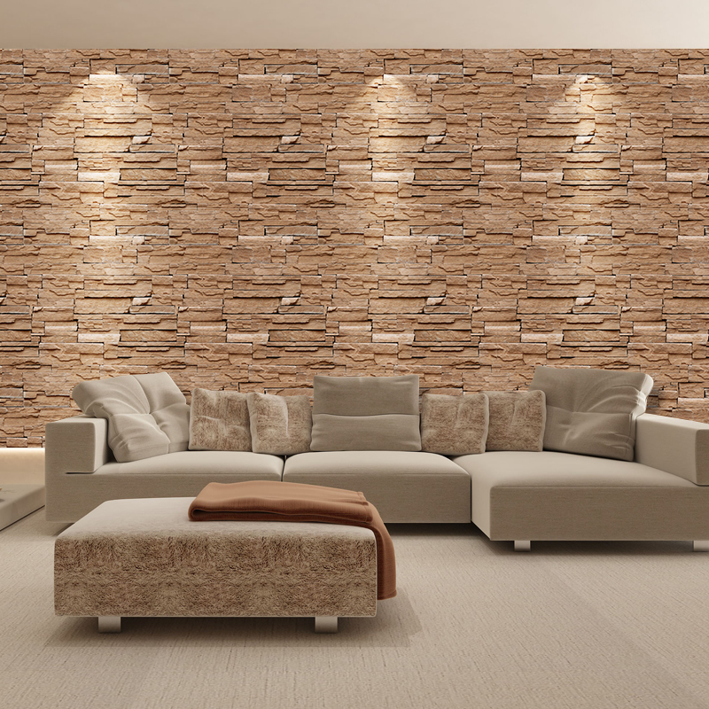 SA-1031 Home Decor 3D PVC Wood Grain Wall Stickers Paper Brick Stone Rustic Effect Self-adhesive Home Decor Sticker Room