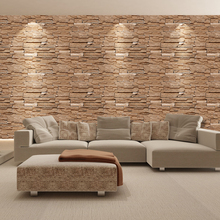 SA-1031 Home Decor 3D PVC Wood Grain Wall Stickers Paper Brick Stone Rustic Effect Self-adhesive Sticker Room