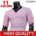 2016 New Arrival Jeansian Mens Casual Trendy Comfortable Leisure Skinny V Neck Long sleeved T-shirt 12 Colors 4 Sizes D304