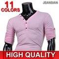 2016 Nueva Llegada Jeansian Mens Casual Moda Cómoda Ocio Skinny V Cuello de manga larga T-shirt 12 Colores 4 Tamaños D304