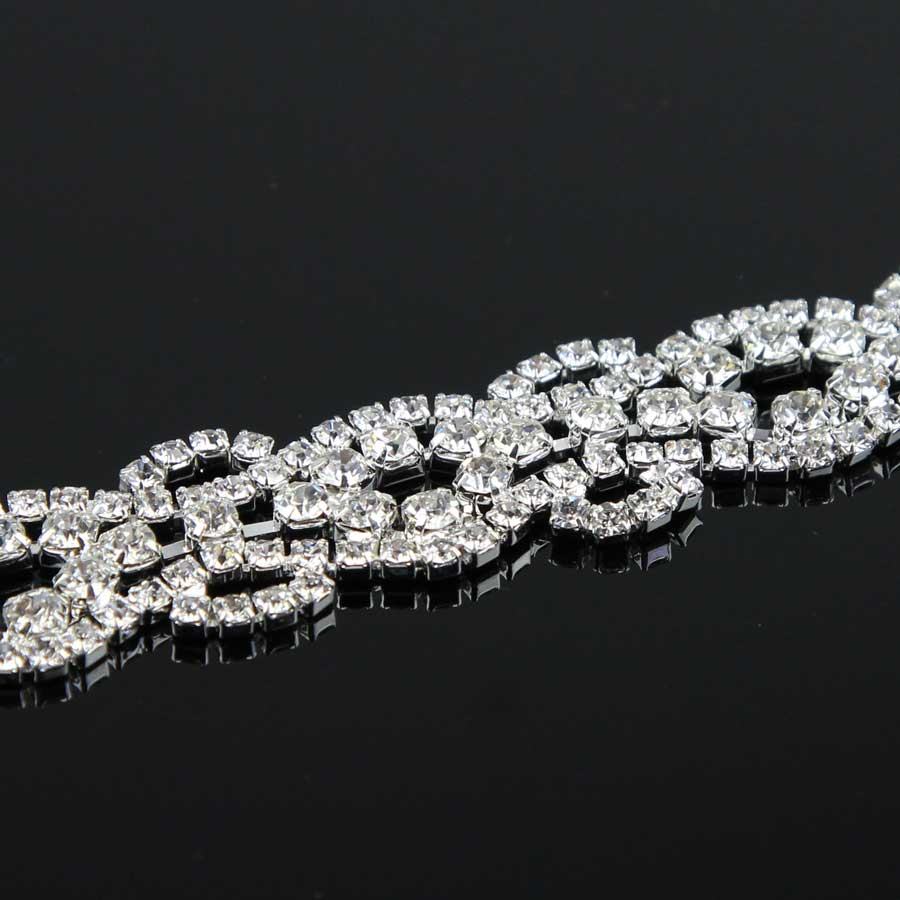 100Yards Rhinestones Crystal Dress silver beaded trim for wedding dress rhinestone applique