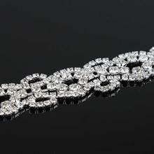 10Yards Rhinestones Crystal Dress Silver Beaded Trim For Wedding Rhinestone Applique