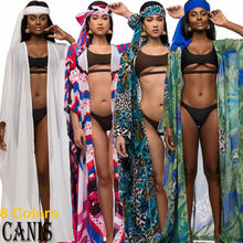 Hirigin 2PCS 2019 Brand New Fashion Hot Sexy Vintage Women Retro Chiffon Beach Bikini Print Cover Up Boho Wrap Scarf Swimwear