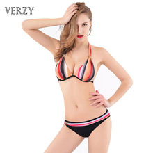 2016 Plus size Bikini Sexy push up bikinis Padded bra Halter Neck Women s bikinis stripes
